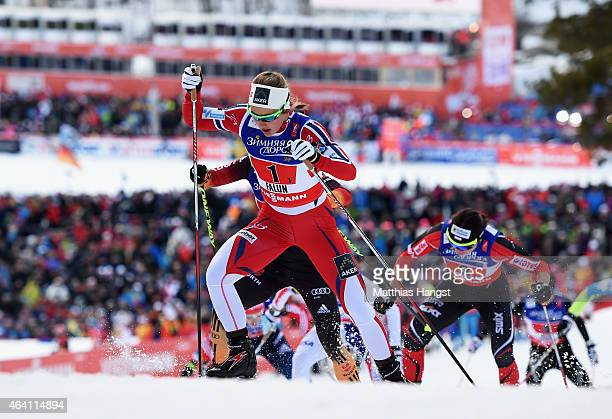 Ingvild Flugstad Oestberg of Norway leads in the Women's CrossCountry Team Sprint Final during the FIS Nordic World Ski Championships at the Lugnet...