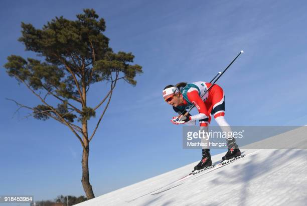 Ingvild Flugstad Oestberg of Norway skis during the CrossCountry Skiing Ladies' 10 km Free on day six of the PyeongChang 2018 Winter Olympic Games at...