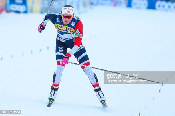 Ingvild Flugstad Oestberg of Norway takes 1st place during the FIS Nordic World Cup Men's and Women's Cross Country Pursuit on January 3 2019 in...