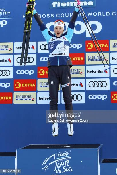 Ingvild Flugstad Oestberg of Norway takes 1st place during the FIS Nordic World Cup Men's and Women's Cross Country Classic Mass Start on January 5...