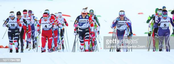 Ingvild Flugstad Oestberg of Norway takes 1st place Jessica Diggins of USA competes Krista Parmakoski of Finland competes Yulia Belorukova of Russia...