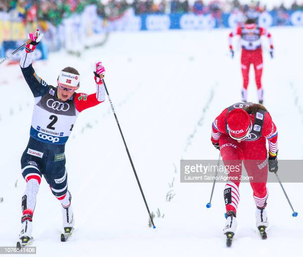 Ingvild Flugstad Oestberg of Norway takes 1st place Natalia Nepryaeva of Russia takes 2nd place during the FIS Nordic World Cup Men's and Women's...