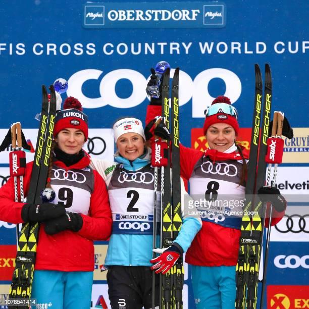 Ingvild Flugstad Oestberg of Norway takes 1st place Natalia Nepryaeva of Russia takes 2nd place Anastasia Sedova of Russia takes 3rd place during the...