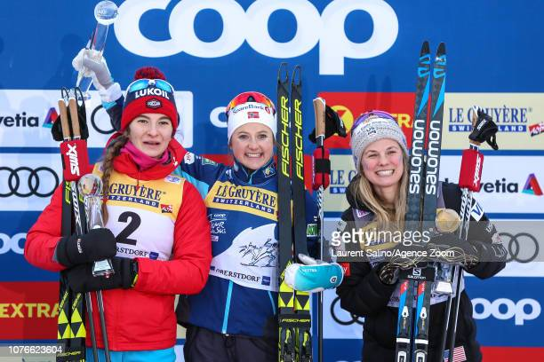 Ingvild Flugstad Oestberg of Norway takes 1st place Natalia Nepryaeva of Russia takes 2nd place Jessica Diggins of USA takes 3rd place during the FIS...