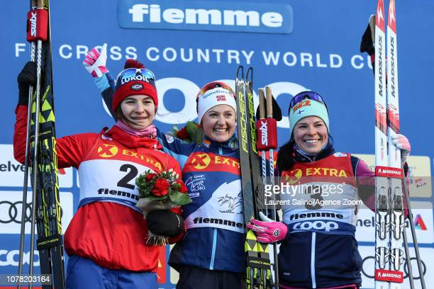 Ingvild Flugstad Oestberg of Norway takes 1st place Natalia Nepryaeva of Russia takes 2nd place Krista Parmakoski of Finland takes 3rd place during...