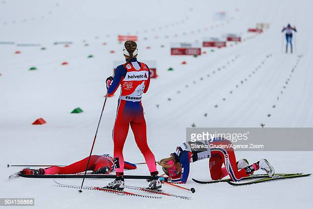 Ingvild Flugstad Oestberg of Norway takes 2nd during the FIS Nordic World Cup Men's and Women's Cross Country Tour de Ski on January 9 2016 in Val di...