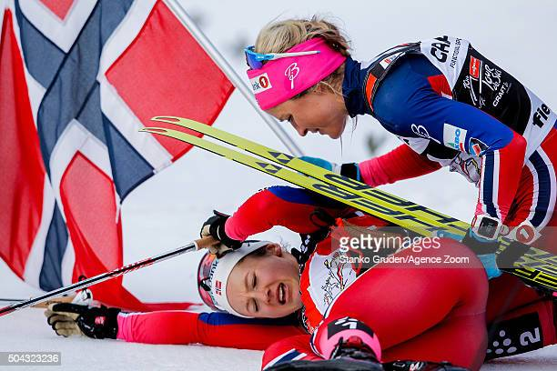 Ingvild Flugstad Oestberg of Norway takes 2nd place during the FIS Nordic World Cup Men's and Women's Cross Country Tour de Ski on January 10 2016 in...