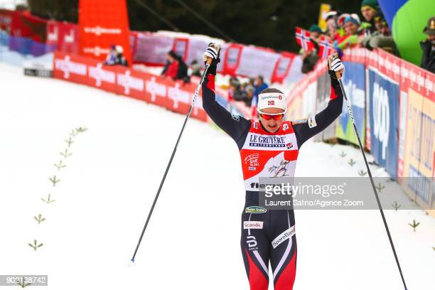 Ingvild Flugstad Oestberg of Norway takes 2nd place during the FIS Nordic World Cup Women's CC 9 km F Tour de ski on January 7 2018 in Val di Fiemme...