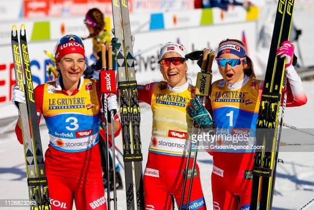 Ingvild Flugstad Oestberg of Norway takes 2nd place Therese Johaug of Norway takes 1st place Natalia Nepryaeva of Russia takes 3rd place during the...