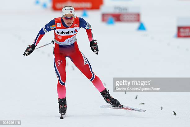 Ingvild Flugstad Oestberg of Norway takes 3rd place during the FIS Nordic World Cup Men's and Women's Cross Country Tour de Ski on January 8 2016 in...