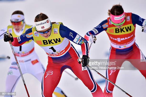 Ingvild Flugstad Oestberg of Norway takes 3rd place Maiken Caspersen Falla of Norway takes 2nd place during the FIS Nordic World Cup Men's and...