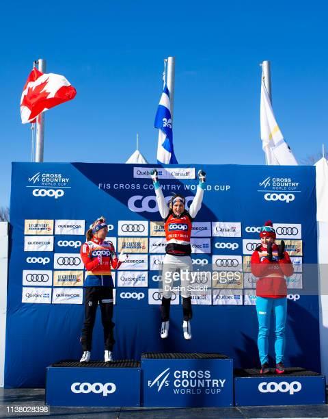 Ingvild Flugstad Oestberg of Norway Therese Johaug of Norway and Natalia Nepryaeva of Russia on the podium for the 2019 FIS World Cup Distance...