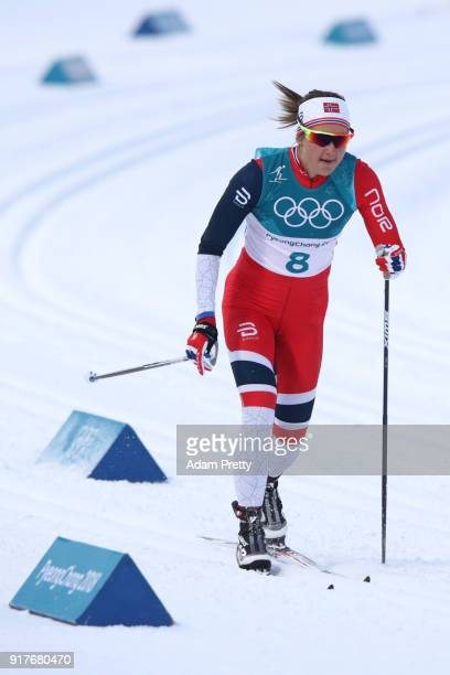 Ingvild Flugstad Oestberg of Norwaycompetes during the CrossCountry Ladies' Sprint Classic Qualification on day four of the PyeongChang 2018 Winter...