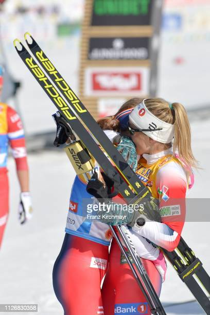 Ingvild Flugstad Ostberg of Norway and Therese Johaug of Norway during the Women's Cross Country Skiathlon at the FIS Nordic World Ski Championships...