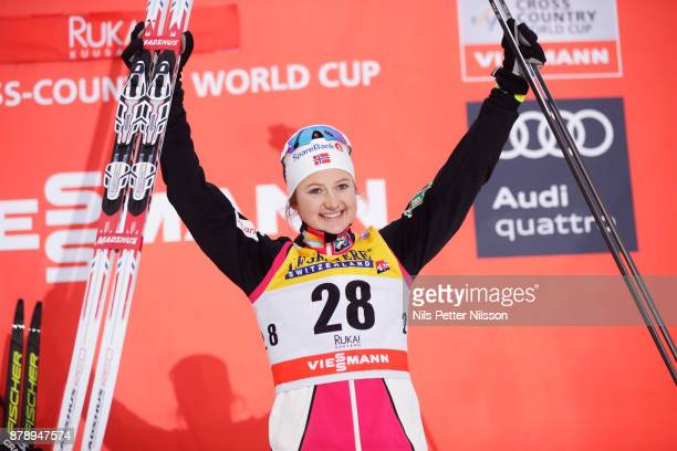 Ingvild FlugstadOestberg of Norwaycelebrates her 3rd place during the ladies cross country 10K classic competition at FIS World Cup Ruka Nordic...