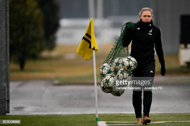 Ingvild Isaksen during a Juventus Women training session on February 22 2018 in Vinovo Italy