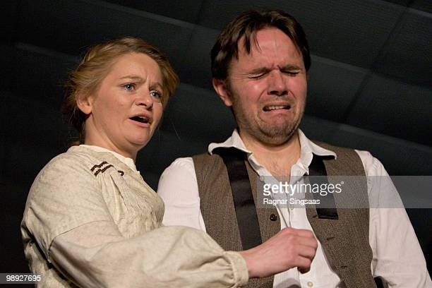 Ingvild Marie Lien and Brendan McCall perform as Sonya and Vanya Voinitsky in Uncle Vanya at the Titan Teatergruppe on May 8 2010 in Oslo Norway