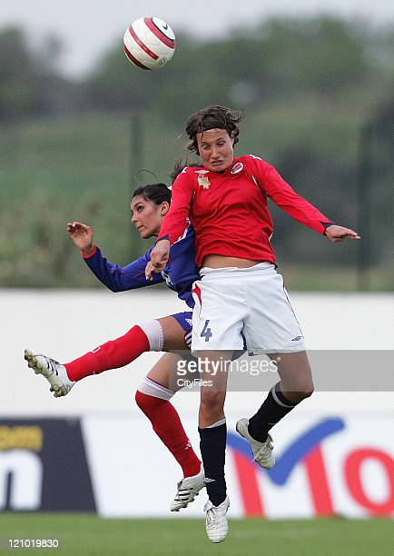 Ingvild Stensland from Norway and Ophelie Meilleroux from France during the 2007 Algarve Women's Football Cup match between Norway and France in...