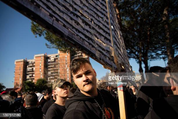 Inhabitants celebrate the felling on February 20 2020 in Naples Italy The Vele of Scampia are a public housing project entrusted to the architect...