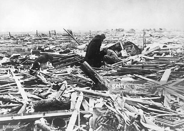 Inhabitants comb the wreckage of the town of Griffin Indiana in the wake of the tristate tornado March 1925 The tornado began in Missouri on the 18th...
