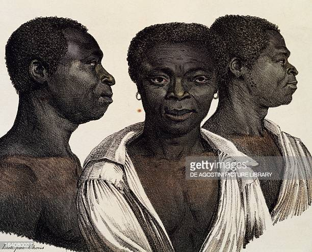 Inhabitants of Mozambique, lithograph from Picturesque voyages around the world, by Louis Choris from the expedition of 1815-1818 led by Otto von...