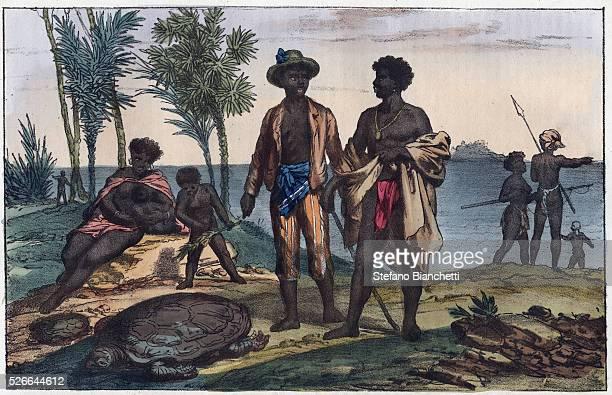 inhabitants of the islands of Cape Verde engraving from Usi e Costumi di Tutti i Popoli dell'Universo Ovvero Storia del governo delle leggi della...