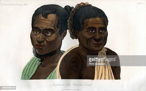 'Inhabitants of the Sandwich Islands' 1848 Natives of what is now known as Hawaii An engraving from the Natural History of Man by James Cowles...