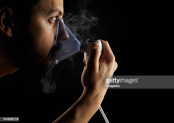Inhalation therapy profile on black background