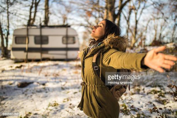 inhaling winter air - non urban scene stock pictures, royalty-free photos & images