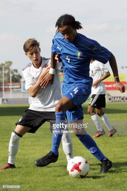 Inhorst Luc of Germany in action against Schiro Thomas of Italy during International Friendly between U18 Germany and U18 Italy at Ammochostos...