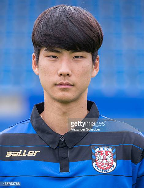 Inhyeok Park poses during the official team presentation of FSV Frankfurt at Volksbank Stadion on June 27 2015 in Frankfurt am Main Germany