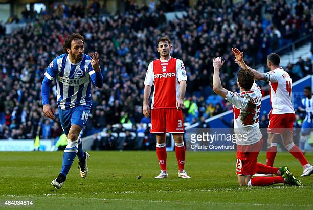 Inigo Calderon of Brighton celebrates after he scores his second and the team's fourth goal of the game during the Sky Bet Championship match between...