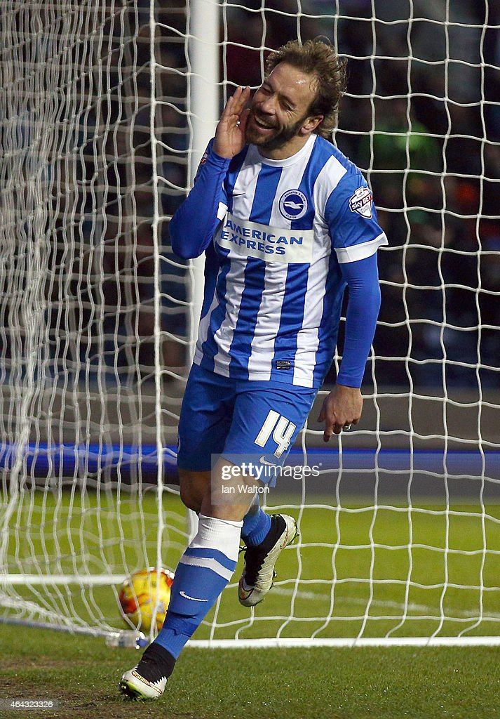Inigo Calderon of Brighton & Hove celebrates after scoring a goal during the Sky Bet Championship match between Brighton & Hove Albion and Leeds United at Amex Stadium on February 24, 2015 in Brighton, England.
