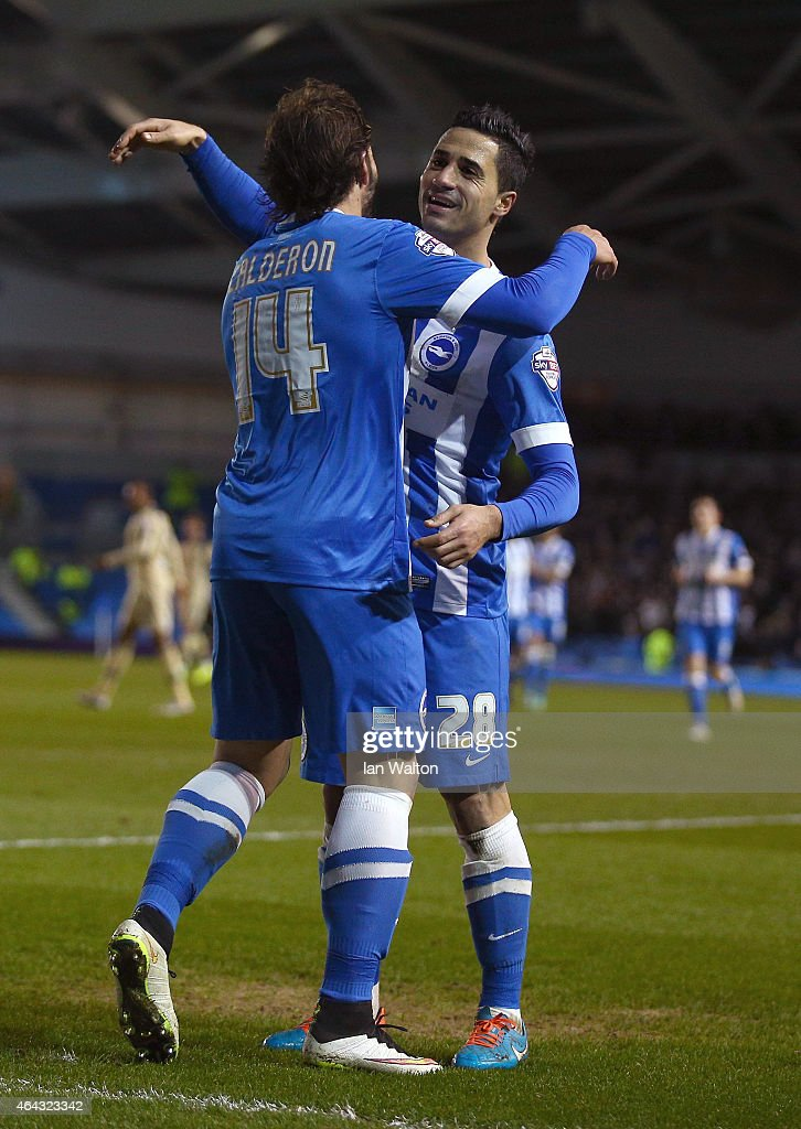 Inigo Calderon of Brighton & Hove celebrates with Beram Kayal after scoring a goal during the Sky Bet Championship match between Brighton & Hove Albion and Leeds United at Amex Stadium on February 24, 2015 in Brighton, England.