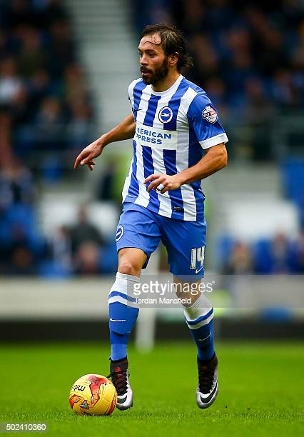 Inigo Calderon of Brighton in action during the Sky Bet Championship match between Brighton and Hove Albion and Middlesbrough at The Amex Stadium on...