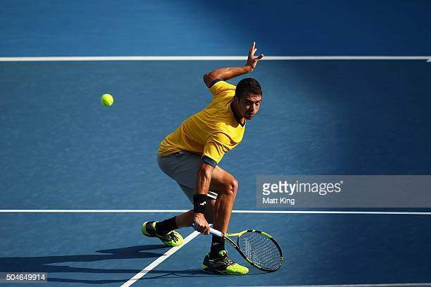 Inigo Cervantes of Spain plays a backhand volley in his match against James Duckworth of Australia during day three of the 2016 Sydney International...