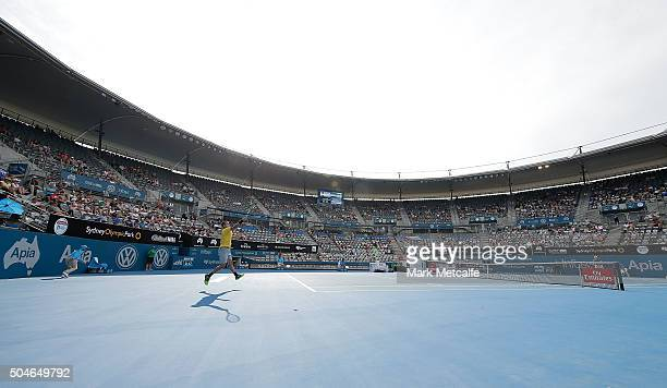 Inigo Cervantes of Spain plays a forehand in his match against James Duckworth of Australia during day three of the 2016 Sydney International at...