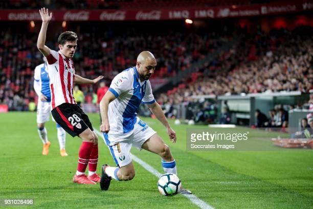 Inigo Cordoba of Athletic Bilbao Nordin Amrabat of Leganes during the La Liga Santander match between Athletic de Bilbao v Leganes at the Estadio San...