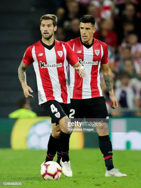 Inigo Martinez of Athletic Bilbao Yuri Berchiche of Athletic Bilbao during the La Liga Santander match between Athletic de Bilbao v Real Sociedad at...