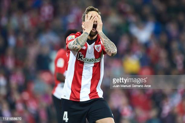 Inigo Martinez of Athletic Club reacts during the La Liga match between Athletic Club and SD Eibar at San Mames Stadium on February 23 2019 in Bilbao...