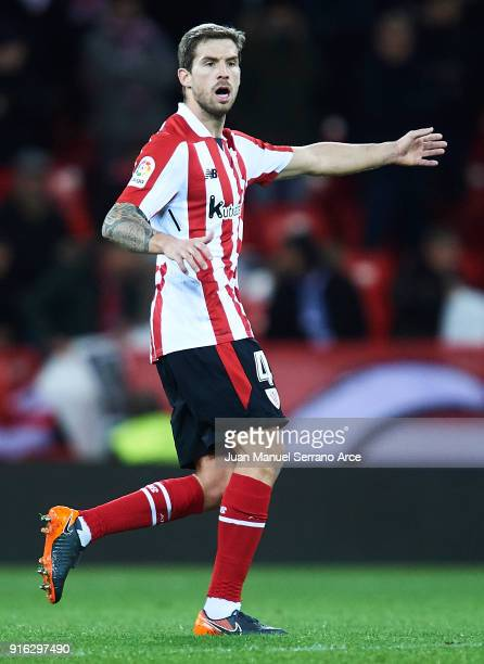 Inigo Martinez of Athletic Club reacts during the La Liga match between Athletic Club and oUnion Deportiva Las Palmas at Estadio San Mames on...