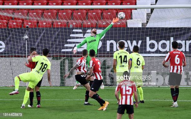 Inigo Martinez of Athletic Club scores their side's second goal during the La Liga Santander match between Athletic Club and Atletico de Madrid at...