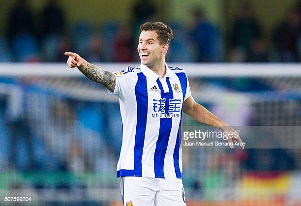 Inigo Martinez of Real Sociedad celebrates after scoring his team's second goal during the La Liga match between Real Sociedad de Futbol and Real...