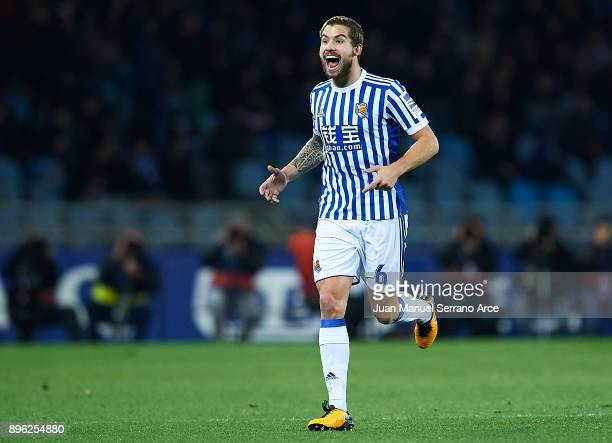 Inigo Martinez of Real Sociedad celebrates after scoring the first goal for Real Sociedad during the La Liga match between Real Sociedad and Sevilla...