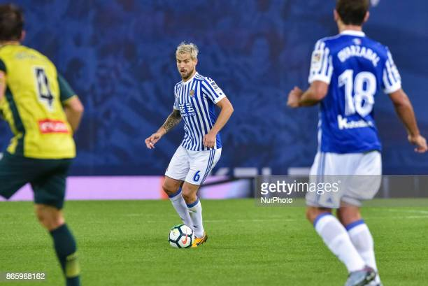 Inigo Martinez of Real Sociedad controlls the ball during the Spanish league football match between Real Sociedad and Espanyol at the Anoeta Stadium...