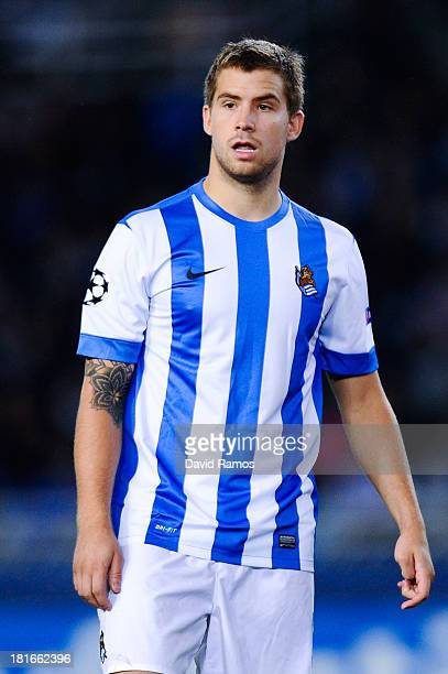 Inigo Martinez of Real Sociedad de Futbol looks on during the UEFA Champions League Group A match between Real Sociedad de Futbol and FC Shakhtar...