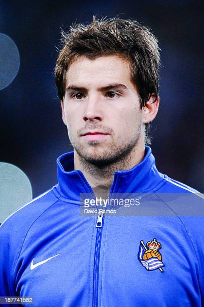 Inigo Martinez of Real Sociedad de Futbol looks on during the UEFA Champions League Group A match between Real Sociedad de Futbol and Manchester...