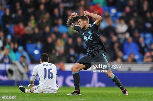 Inigo Martinez of Real Sociedad de Futbol reacts after fouling Mateo Kovacic of Real Madrid during the La Liga match between Real Madrid CF and Real...
