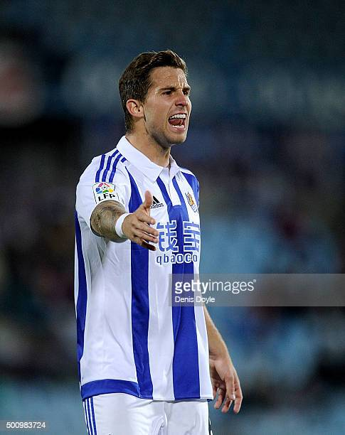 Inigo Martinez of Real Sociedad de Futbol reacts during the La Liga match between Getafe CF and Real Sociedad de Futbol at Coliseum Alfonso Perez...