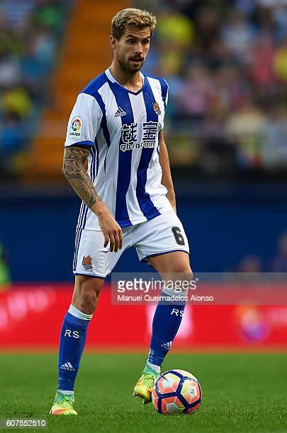 Inigo Martinez of Real Sociedad in action during the La Liga match between Villarreal CF and Real Sociedad at El Madrigal on September 18 2016 in...